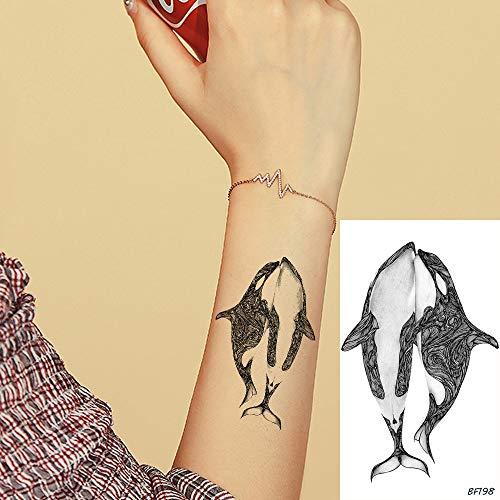 Tzxdbh 5pcs carino 3d nero balena delfino acqua tranfer polso tatuaggi adesivi ragazzi ragazze donne tatuaggio temporaneo oceano personalizzato