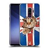 Head Case Designs Gatto Che Sbircia Union Jack Animali Divertenti Cover in Morbido Gel Compatibile con Samsung Galaxy S9+ / S9 Plus