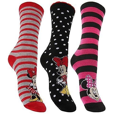 Disney Minnie Mouse - Chaussettes fantaisie (lot de 3 paires) - Femme (37/41 EUR) (Motif 4)