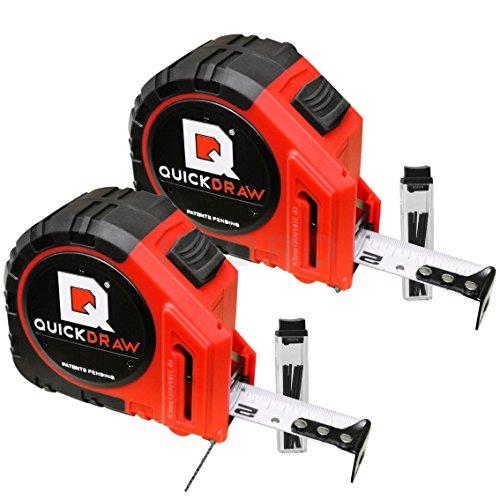 Preisvergleich Produktbild QUICKDRAW 2 Stück Bandmaß mit Grafit Marker 8 m QD8M-PRO Rollmaßband Maßband