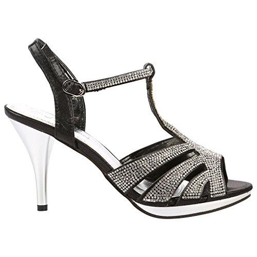 ByPublicDemand Kelis Femme Talons hauts Strass sandales Noir