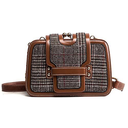 KAIDILA Crossbody Taschen Handtaschen für Frauen Patent Elegant Einfache Karierten große Kapazität PU Damen Schultertasche Leder Mode Tote B AG Casual & Arbeit, grün Schwarz und Braun