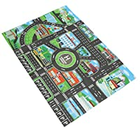 Fenteer Kids Rug/Play Mat with City Traffic Roads Map for Cars & Train Game Toy - Children Play Carpet Boy Girl Nursery Playroom Play Mat #B