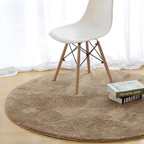 Ali Alfombra redonda moderna mesa de café simple sofá canasta alfombra grande dormitorio manta coral cachemira ( Color : Khaki , Tamaño : Diameter 100cm )