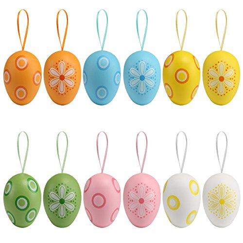 Naler 12pcs plastica colorata easter egg falso uovo con impiccagione cordone loop serie per bambini dono giocattolo pasqua festa decorazione a casa