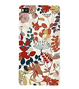 Flowers Leaves Pattern 3D Hard Polycarbonate Designer Back Case Cover for Huawei P8