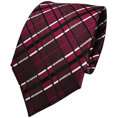 Cravatta rosso vinaccia TigerTie Seiden bordeaux in bianco e nero a quadretti cravatta in seta