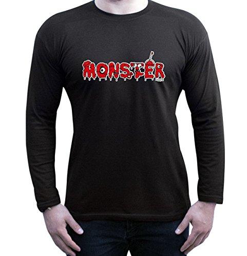 Monster ::: Lustiges Halloween-Kostüm-Langarm-Fun-T-Shirt für Herren Teenager Jungen Männer Party-Outfit-Bekleidung Farbe: schwarz Schwarz