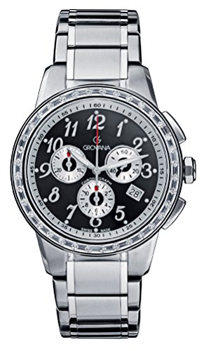 GROVANA 2094.9737 Unisex Quartz Swiss Watch with Black Dial Chronograph Display and Silver Stainless Steel Bracelet
