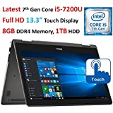 2017 Newest Dell Inspiron 13.3†I7378 2-in-1 Full HD Touchscreen Convertible Laptop, Intel Core I5-7200U (up To 3.1GHz), 8GB DDR4 RAM, 256GB SSD, Backlit Keyboard, Wi-Fi, Bluetooth, Webcam, Windows 10
