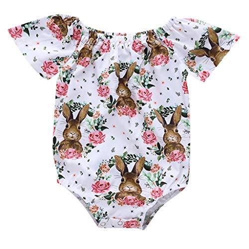 JUTOO Kleinkind-Kind-Baby-Karikatur-Druck-Ostern-Kaninchen-Blumenbody-Spielanzug-Kleidung (Weiß,100) (Kleidung Rabatt Kinder Boutique)