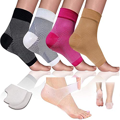 Plantar Fasciitis Socks Compression Sleeves Heel Foot Pain Relief For Men & Women Arch and Ankle Support Great for Running Cycling Achilles Silicone Gel Heel Support Pads Cups Spurs Foot Support ... (Support Achilles)