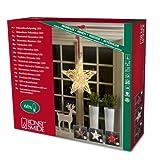 Konstsmide 6222-100 LED Dekoration 'Holzsilhouette Stern, braun' / für Innen (IP20) /  24V Innentrafo / 60 warm weiße Dioden / transparentes Kabel