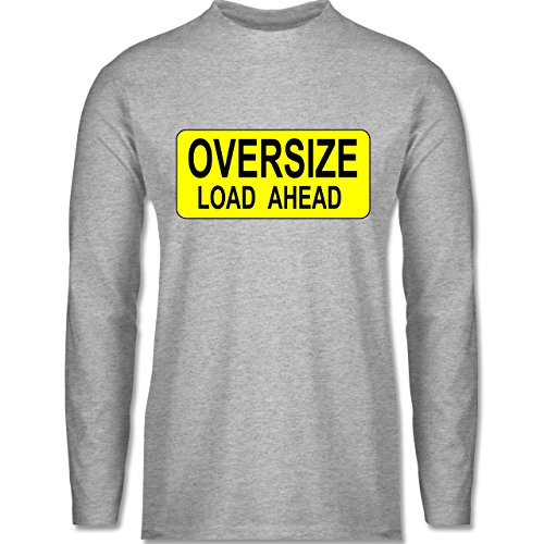 Shirtracer Trucker - Oversize Load Ahead Warnschild - Herren Langarmshirt Grau Meliert