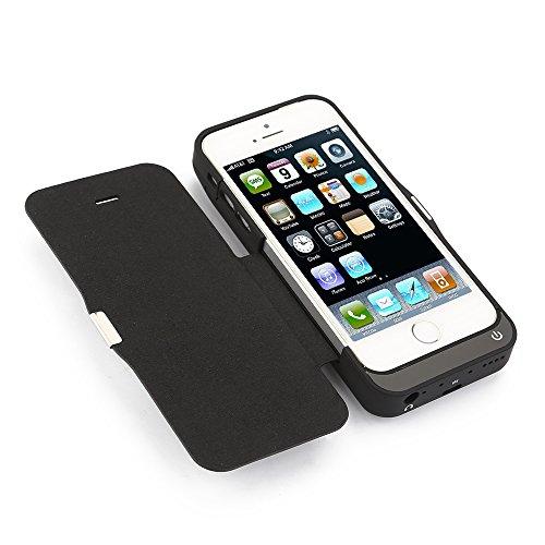 Mbuynow® 7000mAh Akku Hülle für 5/5C/SE/5S mit Flip Cover für Video sehen, Externe Batterie Power Bank mit Halterung für iPhone 5 / 5S / 5C in Schwarz. (5c Power Pack)