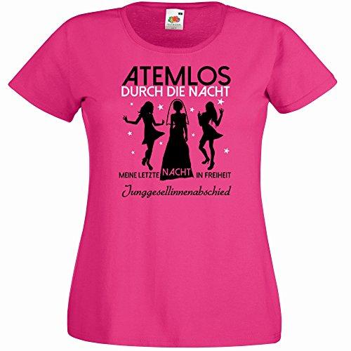 Damen T-Shirt für den Junggesellenabschied mit Motiv Atemlos - Meine letzte Nacht in Freiheit (Frauen/Braut) in pink, Größe XL