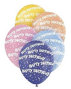 Unique Party Paquete de 5 globos látex de cumpleaños Multicolor, 30 cm 80290