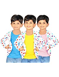 Gkidz Girls Combo Of 3 Graphic Cotton Vest And Shrug Pack of 3 (GIRLS-3PCK-VEST-CMB-8_ Multicolor)