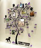 Bellabrunnen 3D Kristall Baum Wand Kunst Aufkleber mit Foto-Rahmen Schlafzimmer Dekoration - lila-s