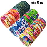 #9: Kp Premium Quality Neyon Multicoloured Printed Elastic Hair Bands Hair Pony Tail Holder Highly Elastic Black Rubber Bands, for Women School Kids and Girls(30 Elastic Bands)