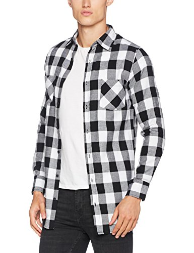 Urban Classics Herren Freizeithemd Side-Zip Long Checked Flanell Shirt Mehrfarbig (Blk/Wht 00050)