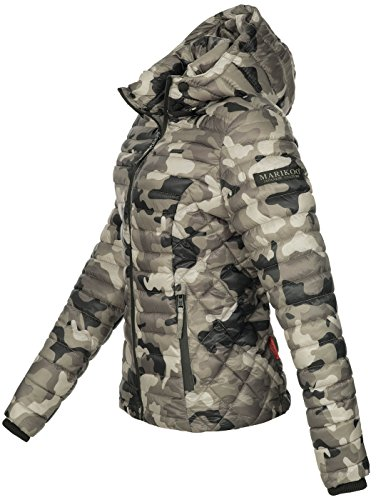 Marikoo Damen Jacke Steppjacke Übergangsjacke mit Kapuze gesteppt B600 [B600-Samt-Army-Grey-Gr.S] - 2