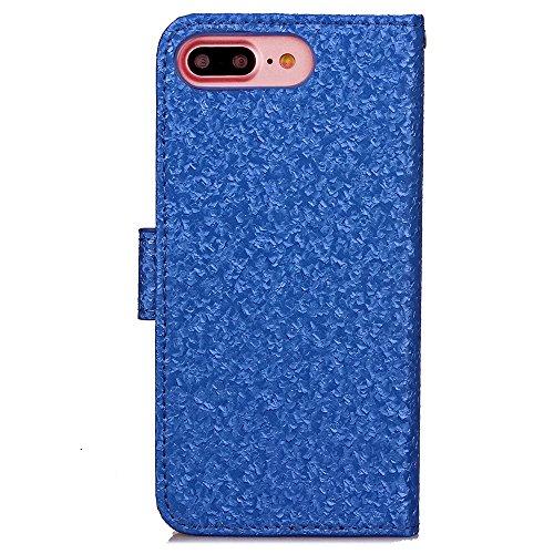 iPhone Case Cover PU-lederner Kasten-Mappen-Kasten mit Karte Bargeld-Schlitz-helle zeichnet Muster-Fall-Standplatz-Abdeckung für IPhone 7 Plus ( Color : Green , Size : IPhone 7 Plus ) Blue