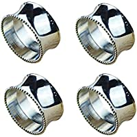 """AmgateEu Set of 4 Stainless Steel Napkin Rings for Dinners, Parties, Everyday, Silver-Plated Diameter 1.8"""""""