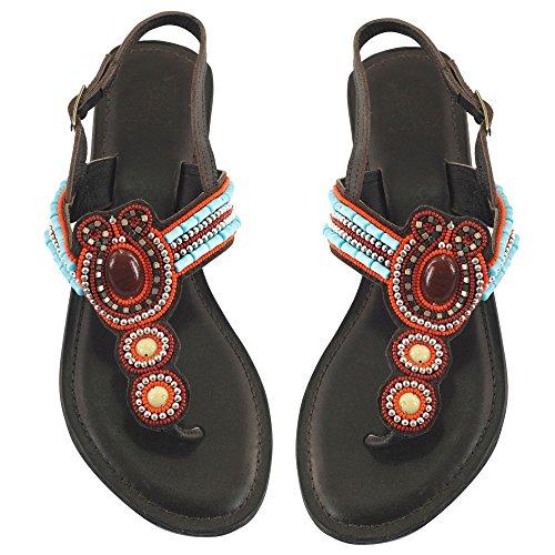 Sandalo In Pelle Braun Con Perline N ° 40