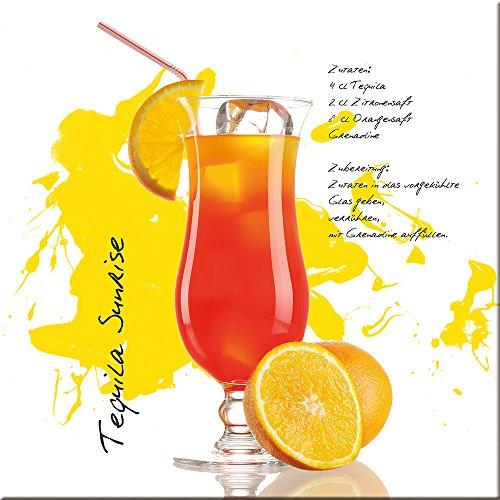 artissimo, Glasbild, 20x20cm, AG1348A, Tequila Sunrise, Küchenbild, Cocktail, Bild aus Glas, Moderne Wanddekoration aus Glas, Wandbild Wohnzimmer modern