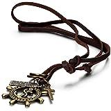 JewelryWe Schmuck Leder Kette mit Piraten Anker, Ringen, Kreuz und Schrift Tag Anhänger, Braun Halskette für Damen und Herren