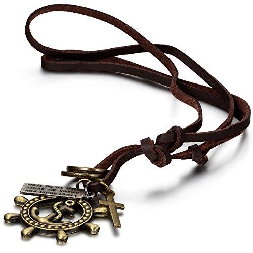 JewelryWe Schmuck Leder Kette mit Piraten Anker, Ringen, -