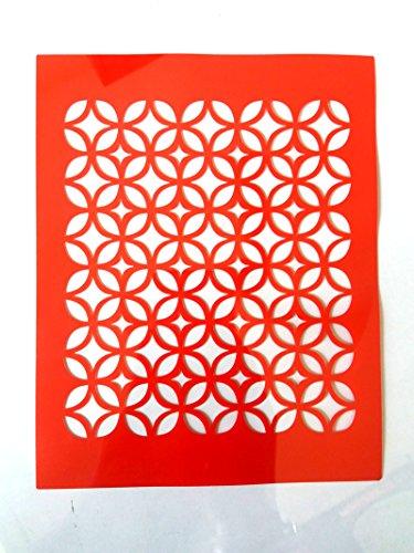 Woolley Art & Craft Reusable DIY Wall Stencil (Red) - Set of 10 Design