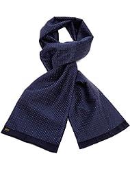 Mailando Herrenschal aus Kaschmir-Woll-Mix und Seide, Kachel Muster gepunktet, sehr elegant, blau (dunkelblau) – weiss