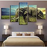 Meaosy Modern Brand New Pictures Home Decor Canvas Posters 5 Pieces Animal Paintings Living Room Hd Abstract Prints Wall Art Framework-10X15/20/25Cm