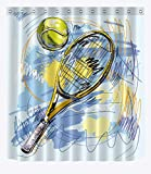 RAOWEIMAOYI Set da Tennis Decorazione del Bagno, la Stampa 3D HD Non Si sbiadisce, Set Tenda da Doccia in Poliestere Impermeabile 12 Ganci da Doccia, 180X180 cm, Accessori per la casa