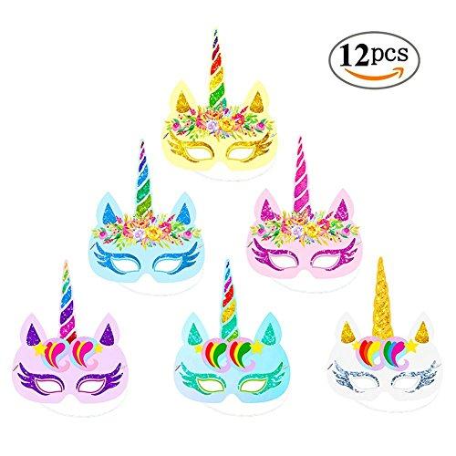 (Yorgewd 12 Stück Regenbogen Einhorn Papier Masken Kinder Geburtstag Einhorn Parteien Gefälligkeiten (1))