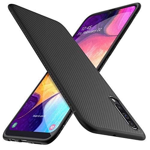 HOUROC Samsung Galaxy A50 Hülle, ultradünne Premium-weiche TPU-Schutzhülle mit Anti-Rutsch-Stoßfest Schlank, Aber langlebig für Samsung Galaxy A50-Telefon. Schwarz