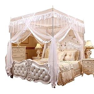 Vier Eckpost Bett Baldachin Vorhang Moskitonetz Schlafzimmer Kinderzimmer Zimmer Prinzessin Stil Netting Bettwäsche Nette Dekoration ( Farbe : Weiß , Abmessung : 1.5m*2m )