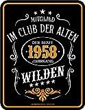 Original RAHMENLOS® Blechschild zum 60. Geburtstag: Im Club der alten Wilden 1958