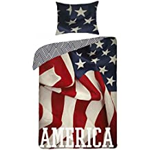 America Bandiera Stati Uniti Parure di letto 100% cotone Copripiumino 140x 200+ federa 70x 90Idea Déco USA