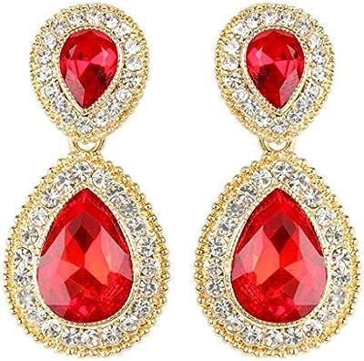 EVER FAITH® Gold-Tone Elegante cristal austríaco Partido Teardrop Pendientes Rojo N03977-6