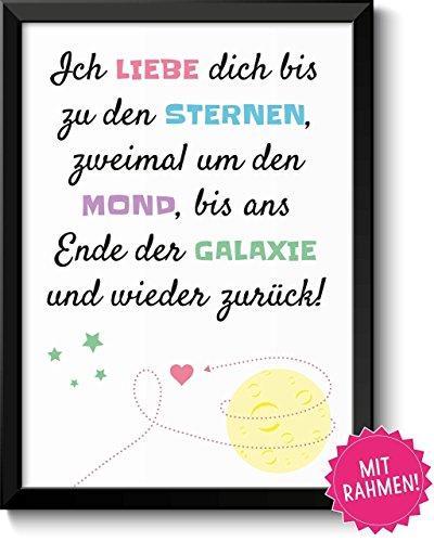 Liebe um den Mond - Bild mit Rahmen - Liebeserklärung Geschenkidee Valentinstag Frau Mann Geschenk Geburtstag Jahrestag Hochzeitstag Weihnachten