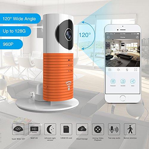 Galleria fotografica Clever Dog 2nd Generation 960P Obiettivo grandangolare 120 ° Telecamera wifi di sicurezza wireless Supporto Max 128 GB Scheda SD / Supporto Cloud Stotage (Orange)
