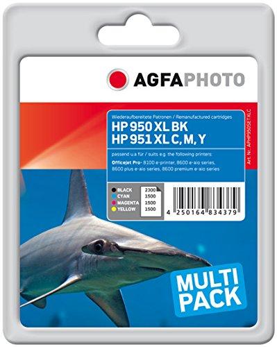 Preisvergleich Produktbild AgfaPhoto APHP950SETXLC Toner für HP OJ PRO8100(4) 1 x 2300 Seiten, schwarz, 3 x 1500 Seiten, cyan, magenta und gelb