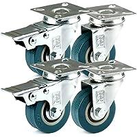 H&S 4 Castor Wheels Heavy Duty 50mm Rubber Swivel Trolley Furniture Caster Brake