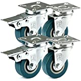 H&S® 4 x Heavy Duty 50mm Rubber Swivel Castor Wheels Trolley Furniture Caster Brake