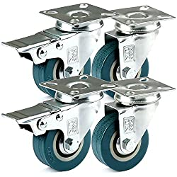 H&S 4 Castor Wheels Heavy Duty 50mm Rubber Swivel Trolley Furniture Caster with Brakes