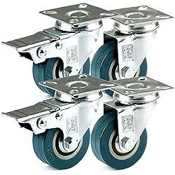 H&S® 4 x Heavy Duty 50mm Rubber Swivel Castor Wheels Trolley Furniture Caster Brake