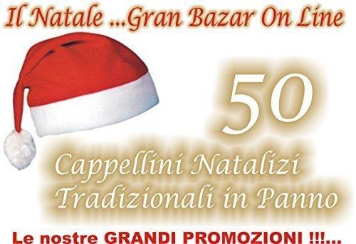 AJL Srl Cappello di Babbo Natale 50 Pezzi